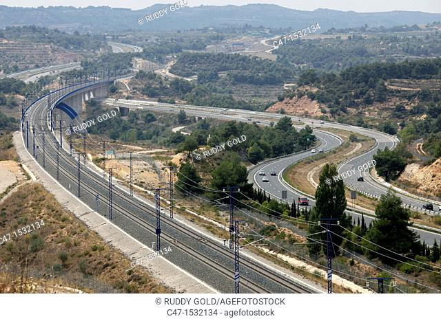 Spain, Catalonia, Lleida province, Vinaixa, AVE, high speed train viaduct along the AP-2 Highway from Barcelona to Madrid