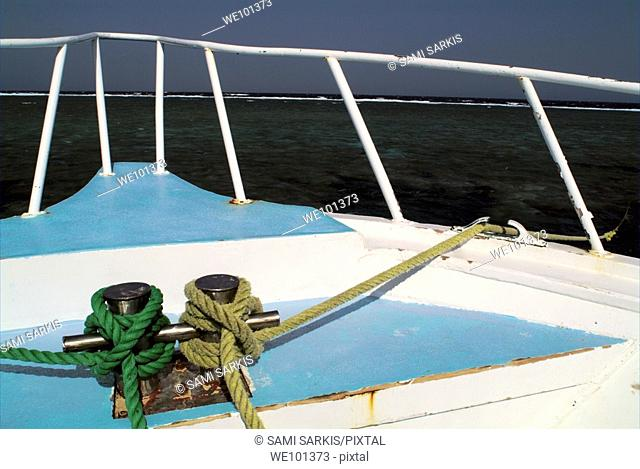 Deck of a diver's cruise boat with view of the sea, Red Sea, Egypt