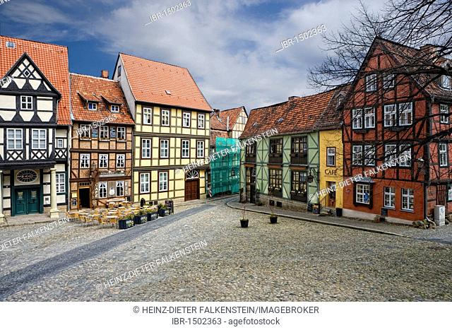 Finkenherd, Schlossberg, alley in the historic town center of Quedlinburg, Saxony-Anhalt, Germany, Europe