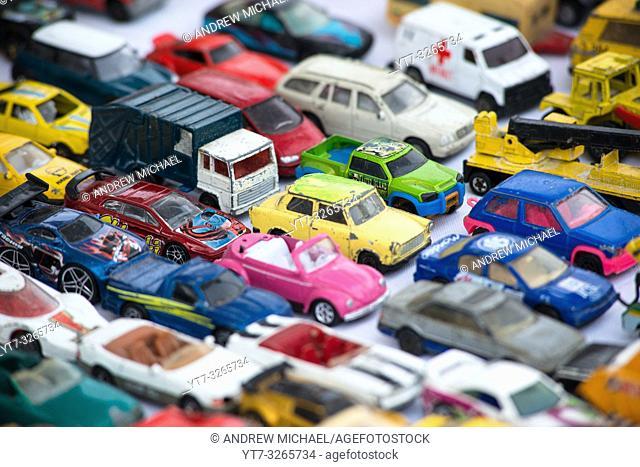 Matchbox cars. Vienna Naschmarkt Linke Wienzeile flea market antique market. Austria