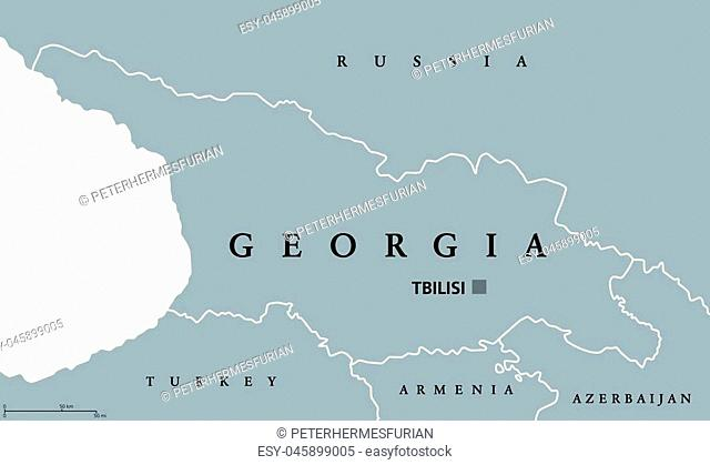 Georgia political map with capital Tbilisi and international borders. Republic and country in the Caucasus region of Eurasia