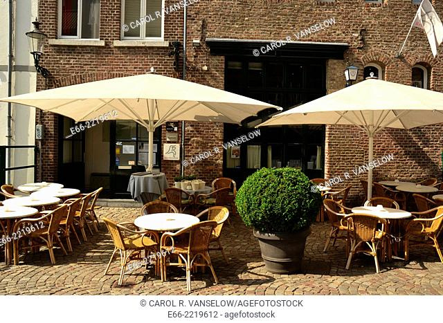 "Maastricht is wellknown for its """"café/terrace culture"""" This café is located on the east bank of the Maas in Maastricht in the Netherlands"