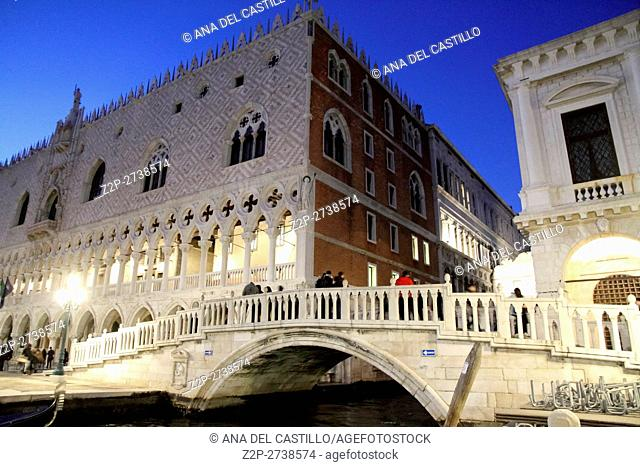 Palazzo Ducale Doges Palace at the Grand Canal, Venice Veneto Italy
