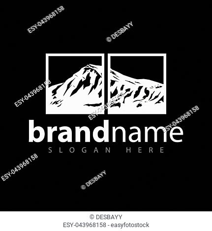 Mountain in square logo icon vector template
