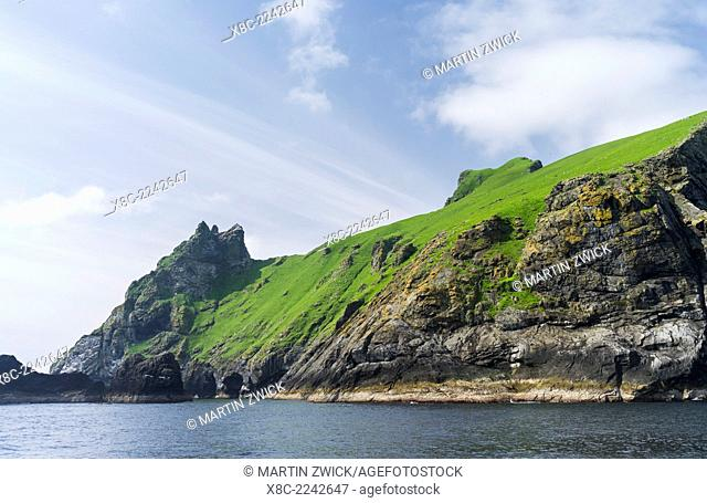 The islands of St Kilda archipelago in Scotland. Island of Boreray with the tiny settlement on the right edge. It is one of the few places worldwide to hold...