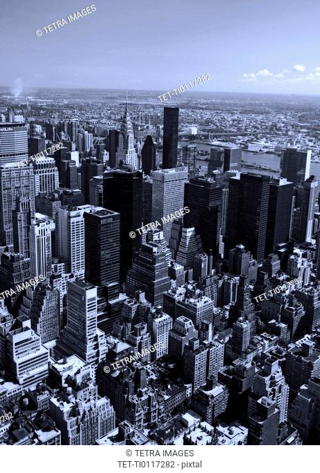 Aerial view of Manhattan New York NY