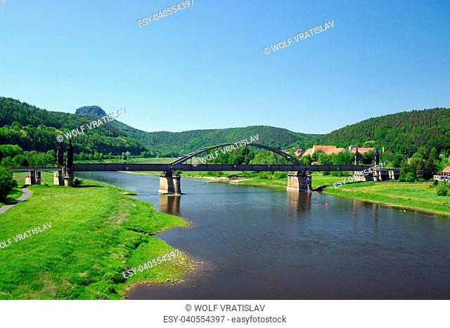 Elbe in Bad Schandau, Saxon Switzerland, Saxony, Germany