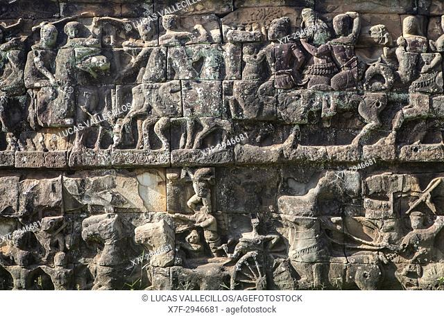 Detail, Terrace of the Elephants, Angkor Thom, Angkor Archaeological Park, Siem Reap, Cambodia