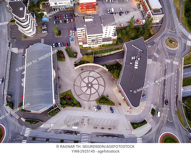 View of a traffic circle and buildings, Kopavogur, Iceland, a suburb of Reykjavik