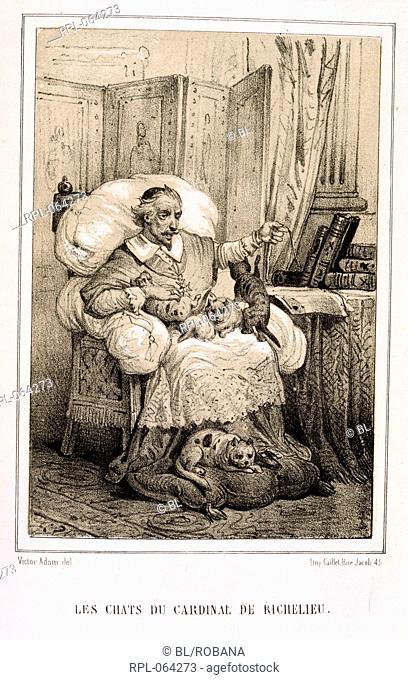 Cardinal Richelieu and his cats. Image taken from Les animaux historiques. Suivis des Lettres sur l'intelligence des Animaux de C. G. Leroy .