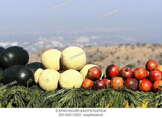 Fruit displayed for sale on the roadside to Jadhav Gadh, Wadaki , Pune
