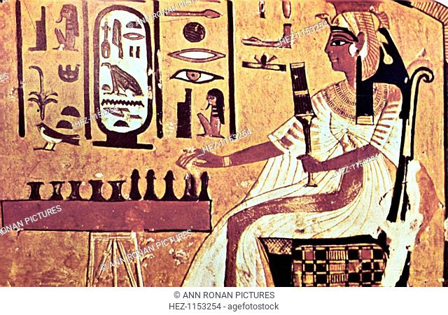Wall painting from the tomb of Nefertari, Thebes, Ancient Egypt, 19th Dynasty, 13th century BC. Nefertari (1292-1225 BC) was the favourite queen of Ramses II