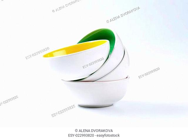 Stack of deep bowls