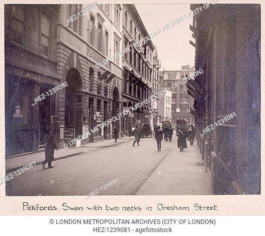 View of Gresham Street, London, c1920; showing Pickfords Removals Ltd at No 57. This was originally the site of the Swan with Two Necks Inn, Lad Lane