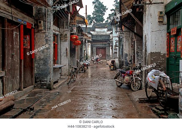 China, Asia, Xingping, Shaanxi province, old town, alley, houses, historic, historical, bikes, Asia