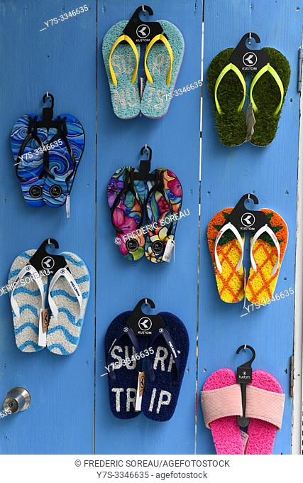Colourful flipflops, sandals, Ishigaki island, Okinawa Prefecture, Japan, Asia