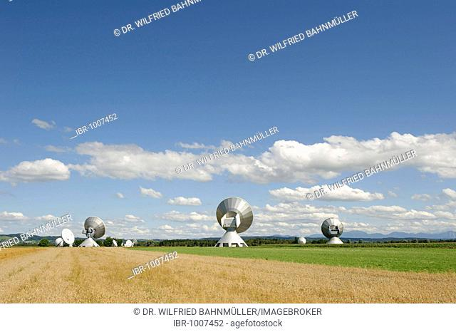 Earth station antennas, radio telescope, near Raisting, Upper Bavaria, Bavaria, Germany, Europe