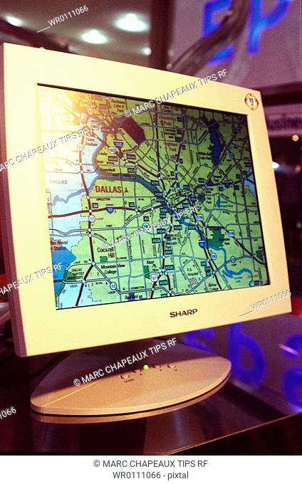 Computer screen showing a map
