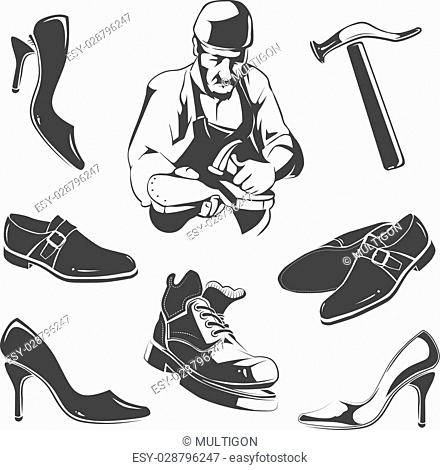 Vector elements for vintage labels of shoes repair