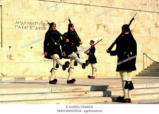 Greece, Athens, changing of the guard in front of the Parliament on Syndagma square