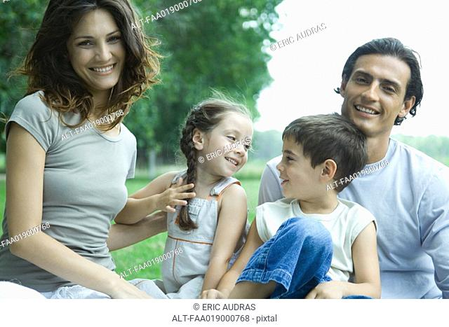 Family outdoors, portrait
