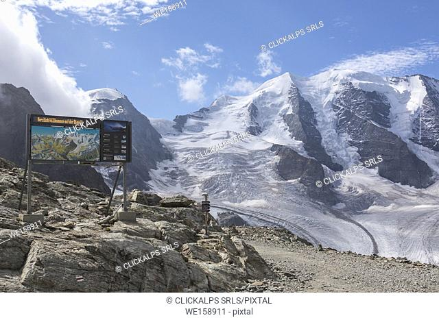 Overview of Pers and Diavolezza glaciers from Hotel Berghaus Diavolezza, Pontresina, canton of Graubünden, Engadine, Switzerland