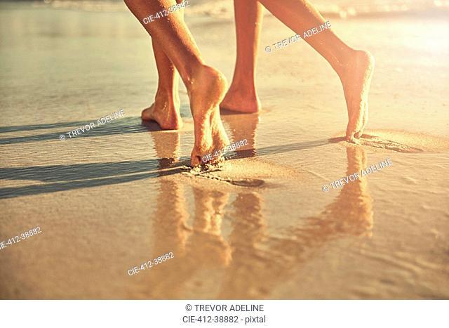 Bare feet of women walking on wet sand on sunny summer beach