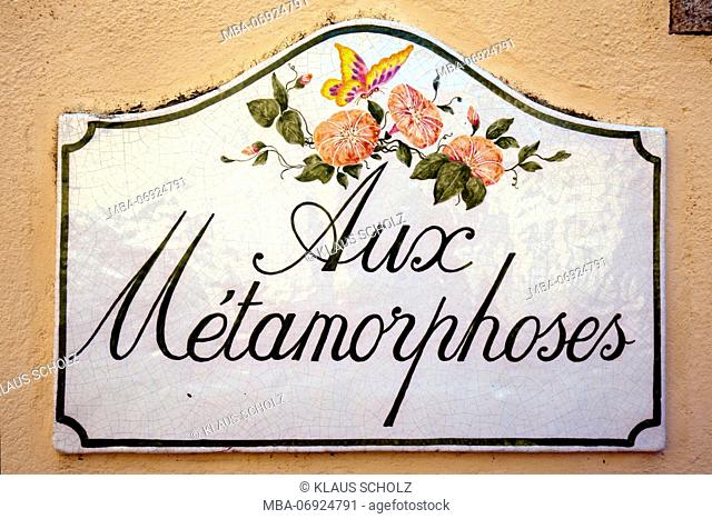 Ceramic sign with symbolic name