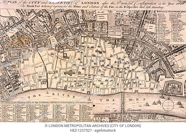 Plan of the City of London and surrounding area after the Great Fire of London in 1666
