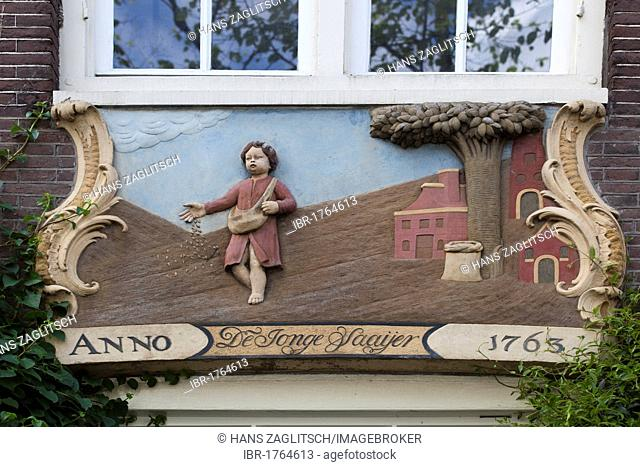 Gable stone The Young Sower, Amsterdam, Holland, Netherlands, Europe