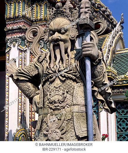 Bankok Thailand Wat Pho tempe built from 1789 guard sculpture