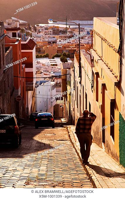 Photograph taken in the historic town of Galdar on Gran Canaria  View down the hill from the Barrio Alto of Galdar