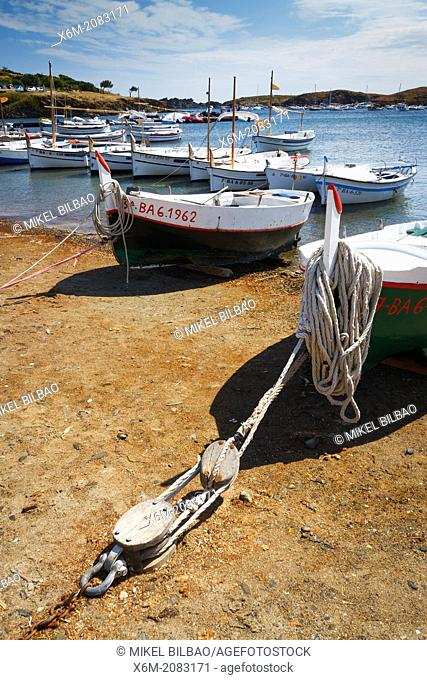 Boats in a beach. Port lligat village. Cadaques town. Costa Brava, Girona. Catalonia, Spain
