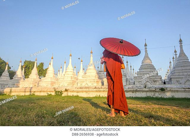 Myanmar, Mandalay State, Mandalay, Kuthodaw Pagoda, contains the world's largest book written on 729 kyauksa gu or stone-inscription caves