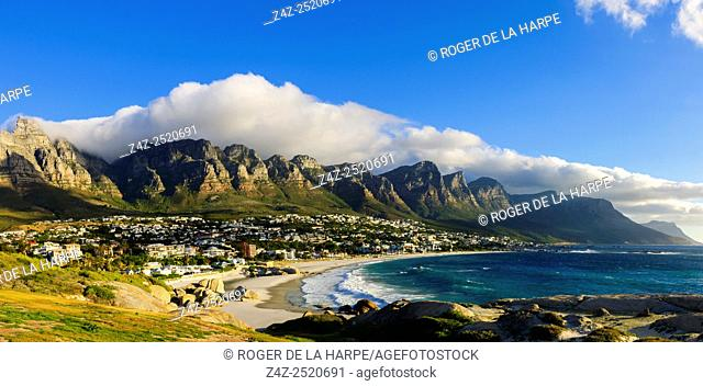 View of the 12 Apostles and Camps Bay. Cape Town. Western Cape. South Africa