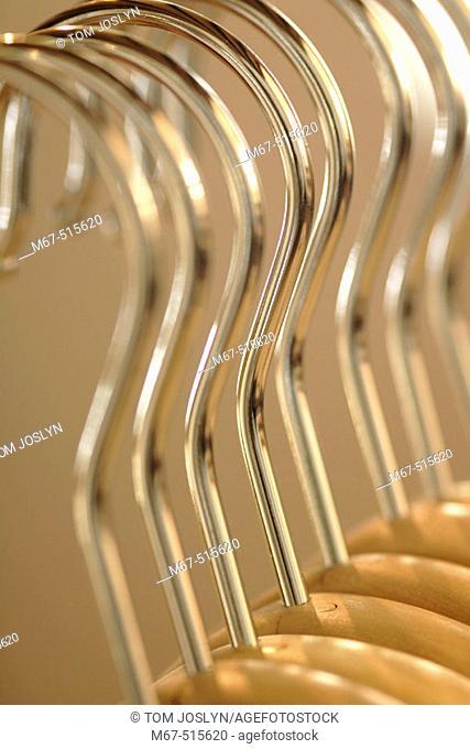 Coat hangers close up