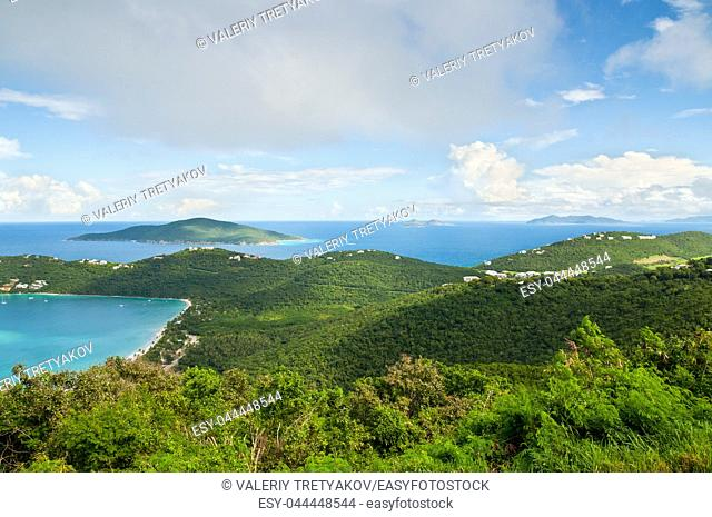 A picture of Megan's Bay and the surrounding coastline of St. Thomas