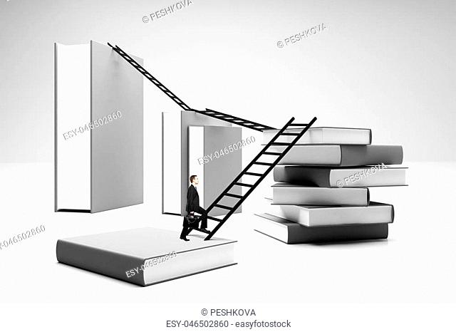 Businessman on abstract books with stairs. Education, career development and future concept. 3D Rendering