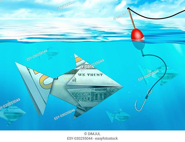 Creative business concept, catching fish from money under water