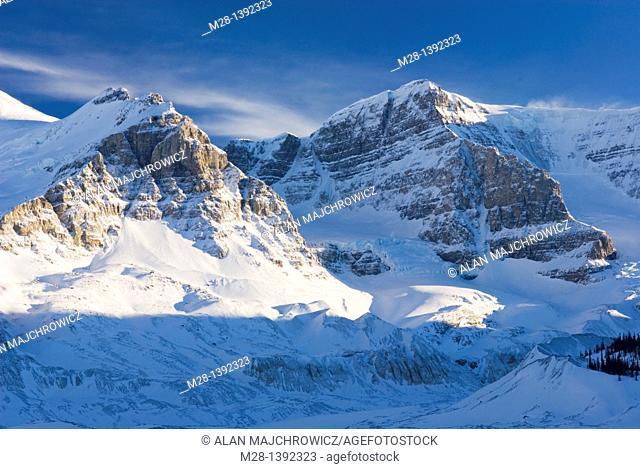 Mount Andromeda in winter seen from the glacial plain of the Sunwapta River, Jasper National Park Alberta Canada
