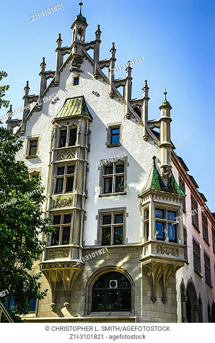 Medieval revival architecture in the city of Ulm in Germany