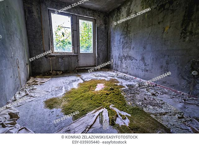 Room in abandoned block of flats in Chernobyl-2 military base, Chernobyl Nuclear Power Plant Zone of Alienation in Ukraine