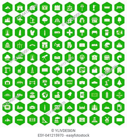 100 landscape element icons set in green hexagon isolated illustration