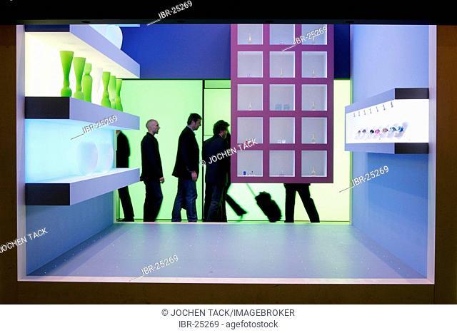 DEU, Germany, Duesseldorf. : Light design in shops, interior design for stores at the Euroshop, tradeshow for shopfitting, store equipment, visual merchandising