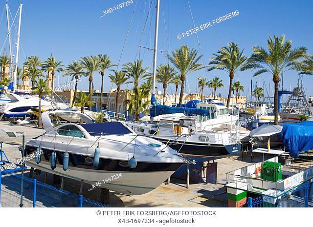 Boat storage for winter Fuengirola city Costa del Sol coast the Malaga region Andalusia Spain Europe