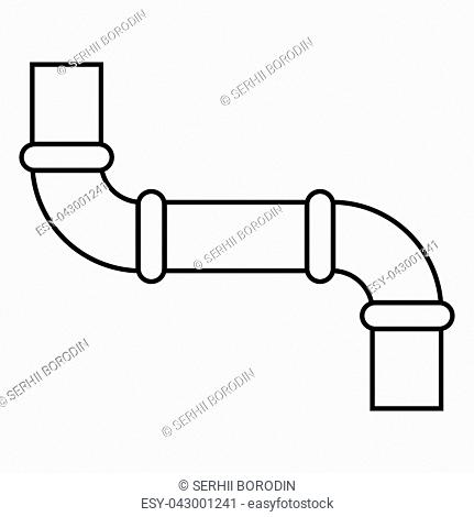 Pipe icon black color vector illustration flat style outline