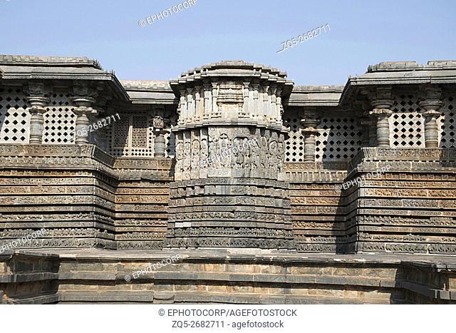 Ornate wall panel relief Hoysaleshwara temple, Halebidu, Karnataka, india. View from East