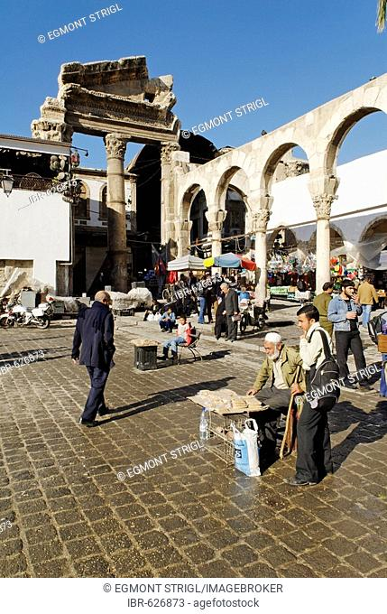 Parts of an antique temple in front of the Omayyad Mosque, Damascus, Syria