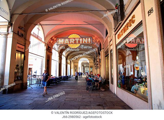 Café Torino in the Piazza San Carlos in Turin. Italy