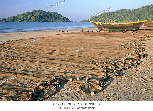 Fishing net on the Palolem beach, Goa, India